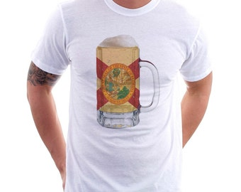Florida State Flag Beer Mug Tee, Unisex, Home Tee, State Pride, State Flag, Beer Tee, Beer T-Shirt, Beer Thinkers, Beer Lovers Tee