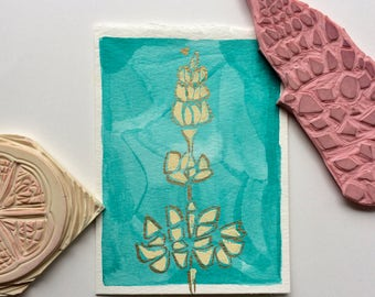 Mother's Day Card, Lupine Greeting Card, Wildflower Card, Block Printed Paper, Just Because Card, Handmade Birthday Card, Thank You Card