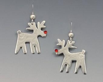 Reindeer Earrings, Silver Reindeer Earrings, Rudolph the Red Nose Reindeer, Christmas Jewelry, Christmas Earrings,Red Nose Reindeer Earrings