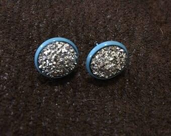 Silver Druzy Stud Earrings