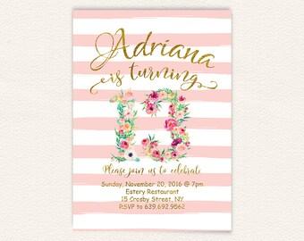 Gold Glitter, Geburtstagsparty, Floral Einladung, 13. Geburtstag,  Geburtstagseinladung, Rosa