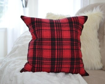 Rustic Red and Black Flannel Pillow Cover