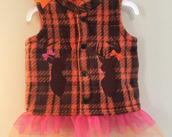 Hunting We Will Go Little Girl Embroidered Vest