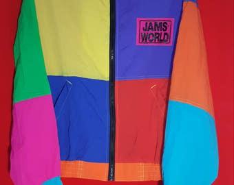 Vintage 90s Jams World Honolulu Hawaii U.S.A. Multicolor Zipper Windbreaker Jacket Made in Usa Size Small Baggy Colorblock Hip Hop Rap
