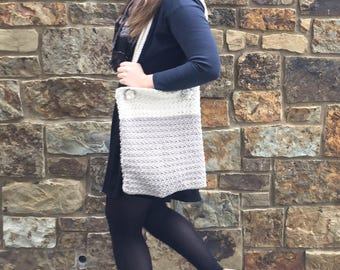 Crochet Tote Bag - Market Tote, Library Bag, Beach Bag