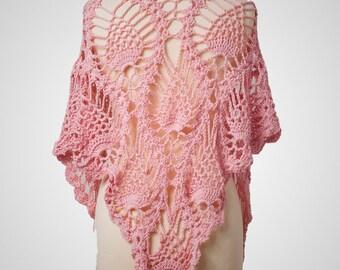 Pink Shawl, Pink Scarf, Crochet Shawl, Crochet Scarf, Cotton Shawl, Boho Shawl, Boho Scarf, Summer Shawl, Summer Scarf, Festival Clothing