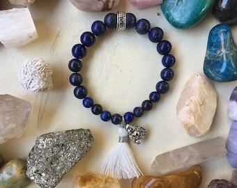 Lapis Lazuli with Tassel and Buddha charm Bracelet