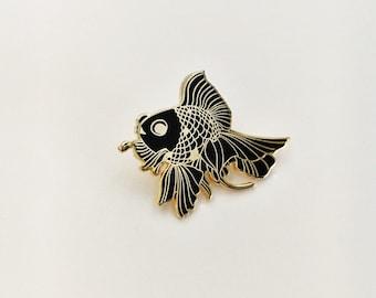 Black and Goldfish Enamel Pin, ~*~ Free Shipping ~*~ Goth Mermaid, Lapel Pin, Hat Pin