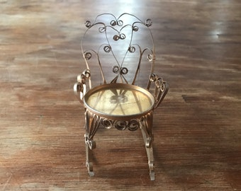 """miniature tin can chair- handmade, approximately 3"""" x 4"""", gold"""