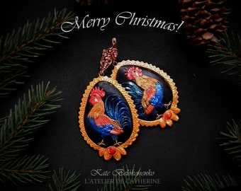 Rooster earrings, rooster symbol, magic bird, new year, polymer clay rooster, black ang golden earrings, boho, vintage, fashion jewelry