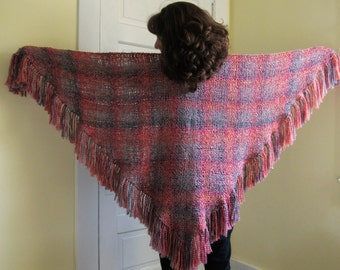 "Handwoven ""Sunrise"" Triangle Shawl"