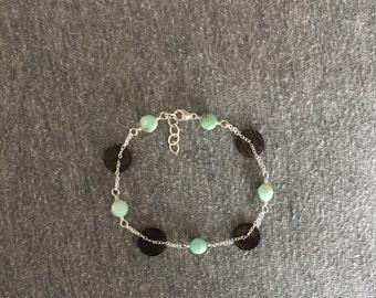 Sterling Silver Peruvian Opal & Coconut Shell Bracelet