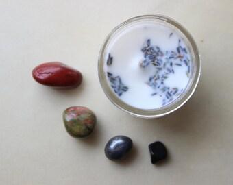 Grounding Crystal Gift Set / Crystal Set / Protection Crystal Gift Set / Crystal Gift Set / Root Chakra / Vegan Candle / Organic Candle