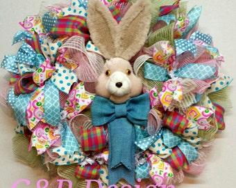 Spring Wreath, Easter Bunny Wreath, Burlap deco mesh wreath, Front door wreath. Pink and blue ribbons wreath.