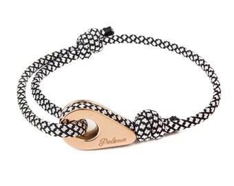 MONTREAL - Black/White Paracord Pulley Bracelet - Nautical bracelet for men - Bracelet marin Homme - Bracelet for him - Nautical wristband