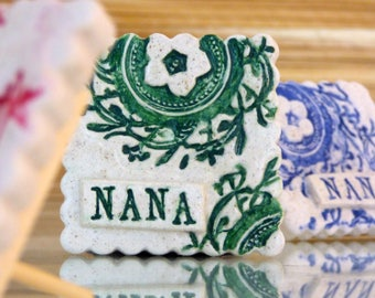 Salt Dough 'Nana' Decorative Lace Imprinted Tile with Peg Stand-New Nana Gift-Nana Birthday Gift-Grandmother Gift-Pregnancy Reveal