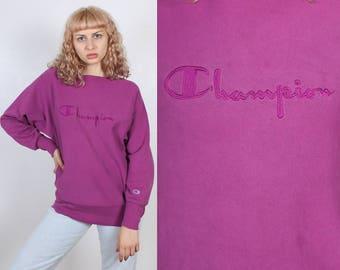 90s Champion Sweatshirt // Vintage Purple Slouchy Oversized Sports Pullover Shirt - Medium