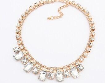 Rhinestone and Crystal Elegant Statement Necklace