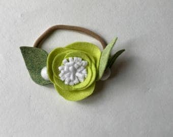 LIME// single flower headband// felt flower