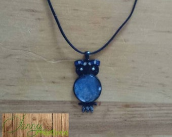 Necklace OWL and round neck flush
