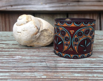 Art Nouveau Inspired Motif on Hand Dyed Mahogany Leather Cuff- Pyrography and Hand Painted