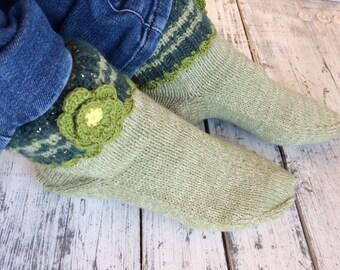 Knitted green slipper socks Knitted wool socks Wool slippers