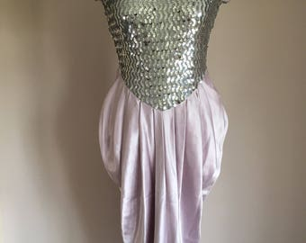 1980s Silver Sequin and Satin Dress, Vintage Silver Evening Dress
