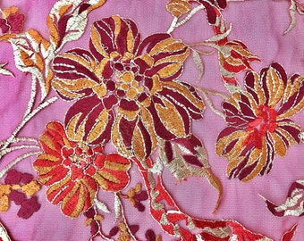 Multi Color Embroidered Floral Blossom Lace Mesh Fabric By The yard