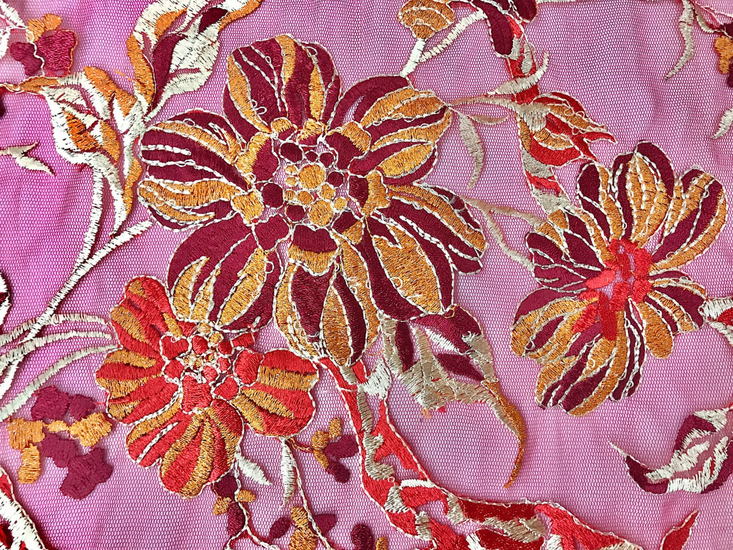 Multi color embroidered floral blossom lace mesh fabric by the