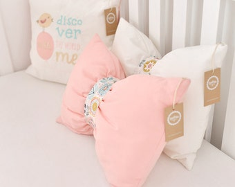 Bow Cushion Bow Shaped Pillow in Rose - in White with flower pattern decoration