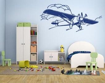 Wall Decal Sticker Bedroom Airplane Taildragger Retro Airplane Kids Boys Room Decor 352b