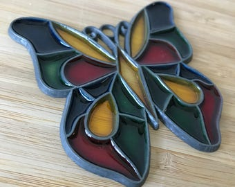 Small Vintage Stained Glass Butterfly Window Stained Glass Butterfly, Art Nouveau, Leaded Stained Glass, Butterfly Stained Glass Panel