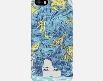 Mermaid iPhone 7 Case, iPhone 6 Case, iPhone 7 Plus Case, iPhone 5s Case, Mermaid iPhone Case, Blue iPhone 5C Case, Art Apple iPhone Case
