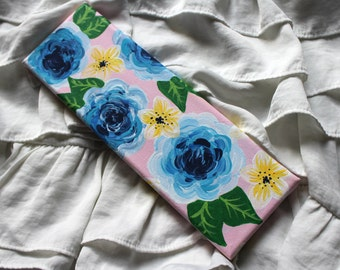 Floral Canvas | Hand painted 9x3 Stretched Canvas, Handpainted