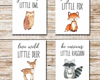 Woodland Animals Series / Stay Clever Live Wild Grow Wise Be Curious / 8x10 Nursery Art / Set of 4 Printable / Baby Shower Decor / Wall Art