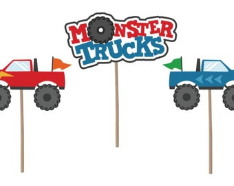 Cupcake Topper, Monster trucks cupcake topper, birthday cupcake toppers, monster trucks, trucks theme, birthday party, party supplies,