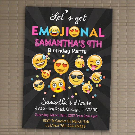Emoji Party Invites Birthday