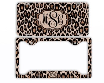 Leopard Cheetah Animal Print License Plate Frame Car Tag Monogrammed Frame Personalized Set Custom Initials