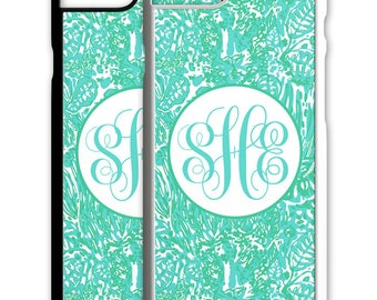 Teal Mint Paisley Floral Flowers Monogrammed Iphone Case 5 6 7 Galaxy S4 S5 S6 S7 Cover Personalized 5S SE Plus Custom