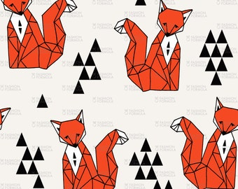 Geometric Fox Fabric by andrea_lauren