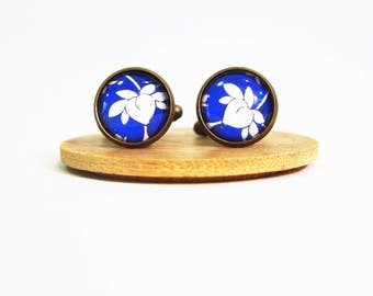30% SALE!!! - Vintage blue floral cufflinks, glass dome cufflinks, men cufflinks, gift for men, antique brass cufflinks, glass cufflinks