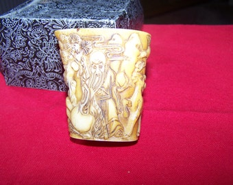 Chinese Bone Zun Wine Cup Carved Decoration
