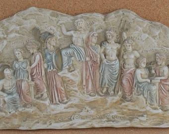 Olympian Gods Sculpture relief Ancient Greek mythology artifact