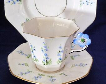 FLOWER-HANDLE Melba Bone China cup saucer TRIO  art deco  vintage