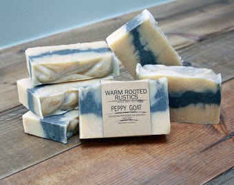 Handmade Peppy Goat Body Soap | Peppermint | Goats Milk | Activated Charcoal