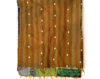 "Kantha Silk Fabric / XL - Scarf ""BANKURA""