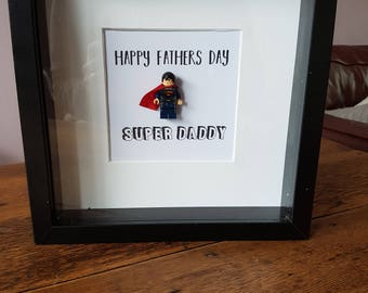 Superhero//Superman//Shadow Box Frame//Minifigures//Gift//Personalise//Fathers Day//Daddy//Lego//DC Fans//Geek//Super Daddy//