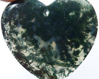 Moss Agate Natural Stone Heart Shaped Stone Pendant Bead