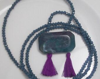 Teal tassel necklace Fuchsia