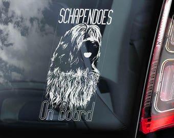 Schapendoes on Board - Car Window Sticker - Dutch Sheepdog Dog Sign Decal - V01
